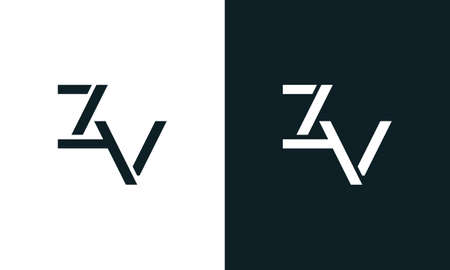 Creative minimal abstract letter ZV logo. This logo incorporate with abstract typeface in the creative way.It will be suitable for which company or brand name start those initial. Logó