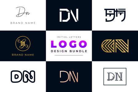 Set of collection Initial Letters DN Logo Design. It will be a creative idea to use for personal branding, business, organization etc.