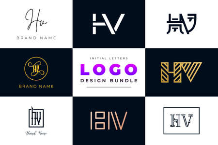 Set of collection Initial Letters HV Logo Design. It will be a creative idea to use for personal branding, business, organization etc.