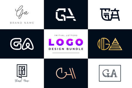 Set of collection Initial Letters GA Logo Design. It will be a creative idea to use for personal branding, business, organization etc.