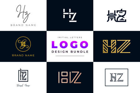 Set of collection Initial Letters HZ Logo Design. It will be a creative idea to use for personal branding, business, organization etc.