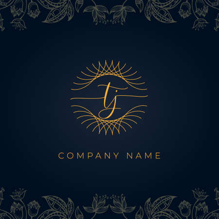 Elegant luxury letter TJ logo. This icon incorporate with abstract rounded thin geometric shape in floral background.It will be suitable for which company or brand name start those initial.