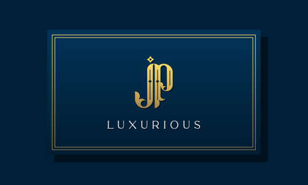 Vintage royal initial letters JP logo. This logo incorporate with luxurious typeface in the creative way. It will be suitable for Royalty, Boutique, Hotel, Heraldic, fashion and Jewelry.