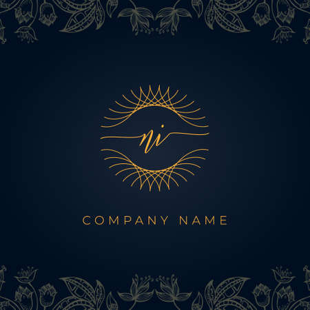 Elegant luxury letter NI logo. This icon incorporate with abstract rounded thin geometric shape in floral background.It will be suitable for which company or brand name start those initial.