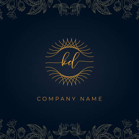 Elegant luxury letter KD logo. This icon incorporate with abstract rounded thin geometric shape in floral background.It will be suitable for which company or brand name start those initial.