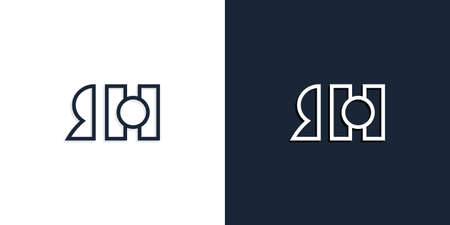 Abstract line art initial letters RH logo. This logo incorporate with abstract typeface in the creative way.It will be suitable for which company or brand name start those initial.