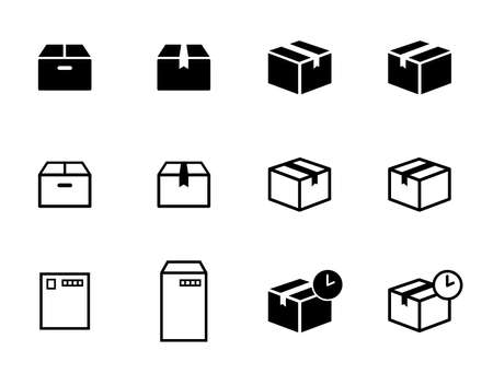 Set of icons for couriers, parcels, mailings, boxes, postcards, envelopes, etc. Çizim