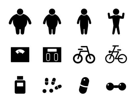 Set of icons for diet, health, body shape, obesity, weight, supplements, etc.