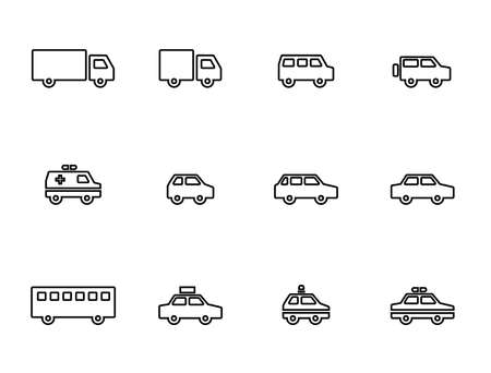 An icon set of trucks, cars, ambulances, police cars, etc.