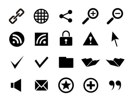 Internet-related icon sets such as web, share, RSS, and folders