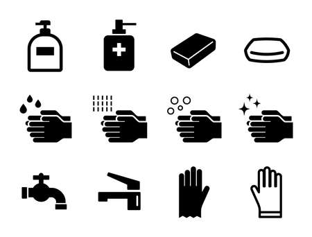 Clean icon set for hand washing, hand soap, soap, water supply, etc.