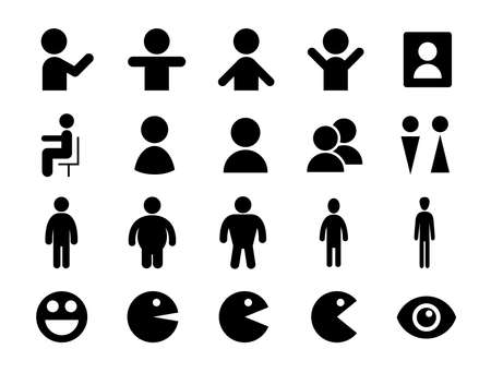 Icons set of various human shapes  イラスト・ベクター素材