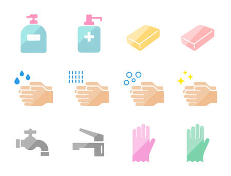 Image icon set for hand washing, hand soap, disinfection, alcohol disinfection, etc.