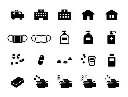 Medical icon set such as ambulance, hospital, face mask, hand washing, medicine, soap, etc. Illustration