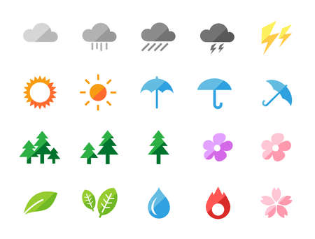 Weather and nature flat design icon set