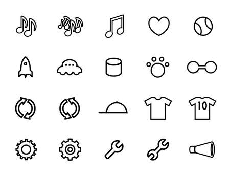 Icon set of notes, hearts, gears, T-shirts, etc.
