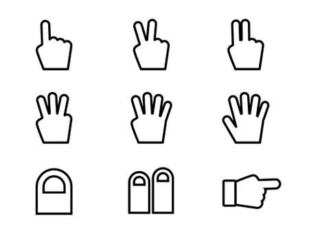 Set of icons in the shape of hands and fingers
