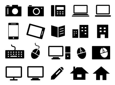 Set of business icons such as cameras, personal computers, telephones, books, buildings, etc. Vector Illustration