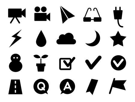 Set of icons such as video cameras, sunglasses, weather forecasts, check marks, etc.