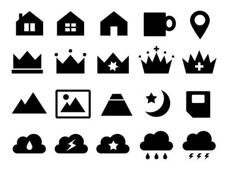 Icons such as house, crown, cloud, mountain, SIM, etc.