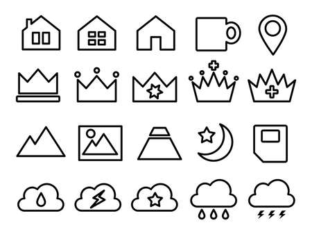 Icons such as ranking, clouds, weather, cups, etc.