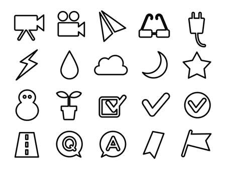 Set of icons for plugs, movies, plants, etc.