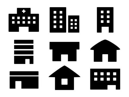 Icon set of buildings and houses and hospital buildings