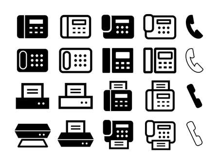 Set of icons for phones, fax machines, scanners, printers, etc.