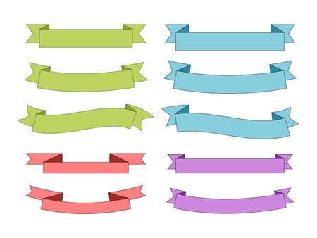 Green, blue, red, purple ribbon (useful for title backgrounds)
