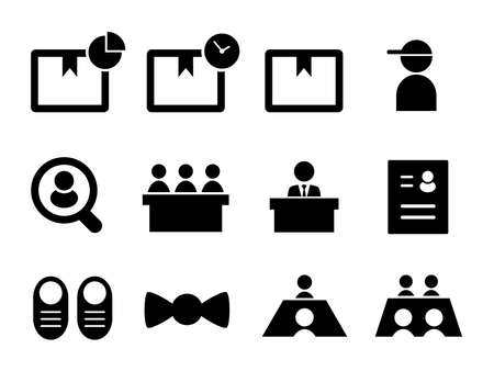 Set of icons for delivery, luggage, interview, job offer, recruitment, resume, shoes, etc.