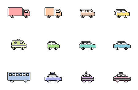 Colorful and pop car line drawing icon set. Illustration of various automobiles such as trucks, one boxes, sedans, ambulances, taxis, buses, police cars, etc.