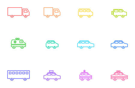 Colorful and cute car line drawing icon. Set of simple illustrations of various automobiles such as trucks, one boxes, sedans, ambulances, taxis, buses, police cars, etc.