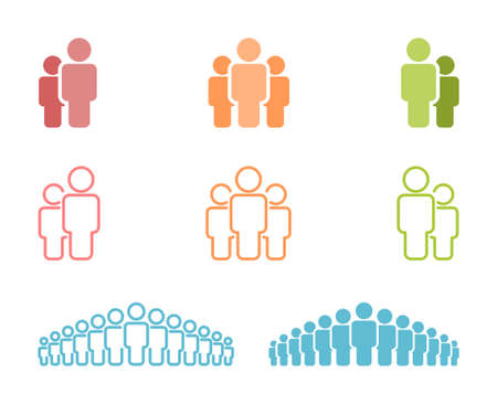 Colorful icons of friends, teams, crowds, etc. Multiple human silhouettes.