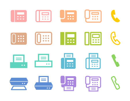 Icon set for phones, faxes, scanners, printers, etc. Colorful illustrations of pink, orange, green, blue, purple, etc.