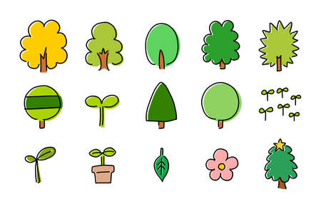 Cute handwritten colorful icon set of trees and plants. Illustration of various trees such as green large trees and red-colored ginkgo trees.