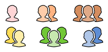 Multiple human line drawing icon sets. Illustration of silhouettes of 1, 2, 3 human beings. Colorful human silhouette representing users and members.
