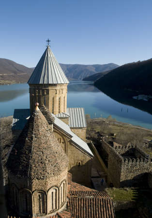 Ananuri  is a castle complex on the Aragvi River in Georgia  This is good combination of ancient architecture and mountain scene