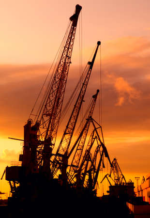 Silhouette of cranes show against the multicolored sundown. This is sunset in Odessa harbour (Ukraine).  photo