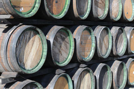 rakia: Woods are stacked up. Such woods are used for Slivovitsa storage.