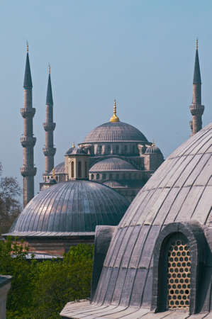 prayer tower: Hagia Sophia is a former Orthodox patriarchal basilica, later a mosque, and now a museum in Istanbul  This is a view overlooking the Ayasofya  Hagia Sophia   Stock Photo