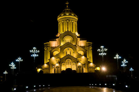 This is a photo of illuminated Cathedral. The Holy Trinity Cathedral of Tbilisi is the main Cathedral of the Georgian Orthodox Church located in Tbilisi, the capital of Georgia. Stock Photo - 16157834