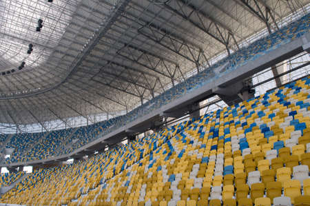 olimpiyskiy: This is a modern stadium - Ukraine, Olimpiyskiy  Empty seats are colored with yellow and blue