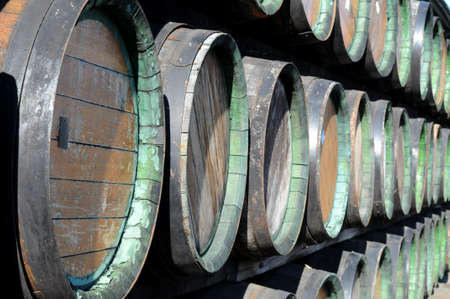 rakia: Woods are stacked up  Such woods are used in Europe for Slivovitsa storage