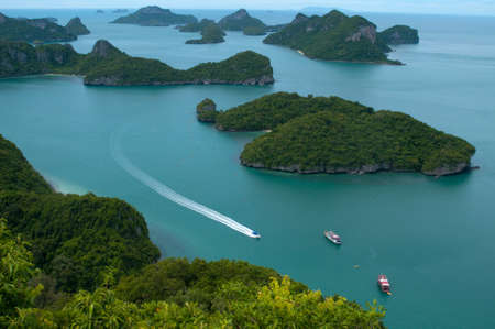 Many green islands are scatter the sea  This is Archipelago of Ang Thong -  National Marine Park near Koh Samui, Thailand