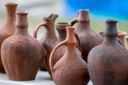 Native tataric pottery are lined up for sale at an outdoor market in Ay-Petri (Crimea). photo