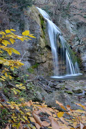 Such view waterfall Djur-djur has in autumn. This is the most famous waterfall of Crimea Mountains.