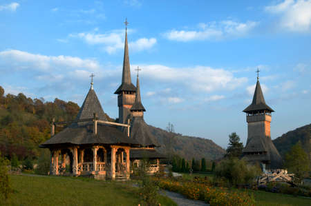 Wood monastery is situated in the  picturesque Carpathian Mountains (Maramuresh region, Romania). This is Barsana monastery. Stock Photo