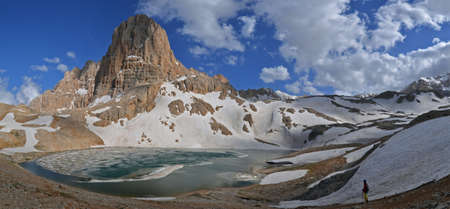 tableland: This is  a panoramic view of the Anti-Taurus Mountains (Aladaglar) -  tableland Edigol, Turkey. The lake with ice and little figure (tourist) are in the foreground.