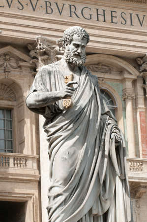 key of paradise: The sculpture of Saint Peter is situated near St. Peters Basilica located within Vatican City. Saint Peter keeps the key of Eden (Paradise)  in his hand.