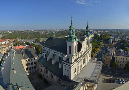 evangelist: This is a top view (panorama) of Lublin (Poland) from Trynitarska Tower. The Cathedral of St. John the Baptist and the Evangelist is in the foreground.